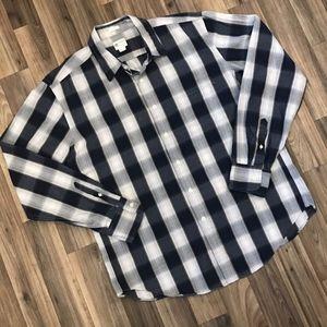 J Crew Tailored Fit Button Shirt Plaid Mens Large